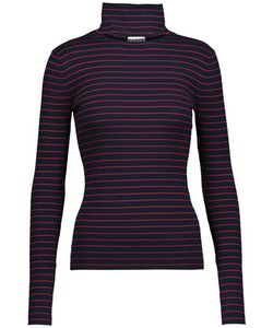 Tanya Taylor | Lia Cutout Striped Stretch Rib-Knit Turtleneck Sweater