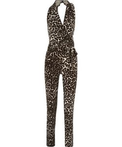 Norma Kamali | Wrap-Effect Printed Stretch-Knit Jumpsuit