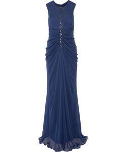 J. Mendel   Embellished Ruched Silk-Chiffon Gown