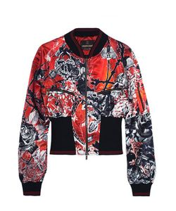 Roberto Cavalli | Printed Ribbed Jersey-Trimmed Satin Bomber Jacket