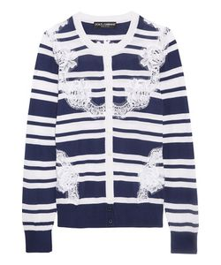 Dolce & Gabbana | Lace-Paneled Striped Silk Cardigan