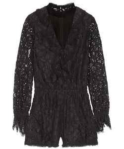 Alexis | Ludmila Cutout Ruffled Corded Lace Playsuit