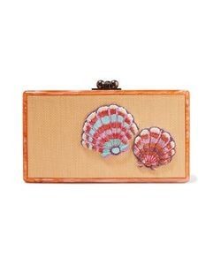 Edie Parker | Jean Embroidered Woven And Acrylic Box Clutch