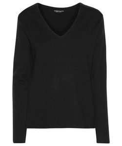 Majestic | Leather-Trimmed Stretch-Wool Top