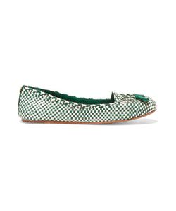 Tory Burch | Russell Bow-Embellished Woven-Leather Loafers