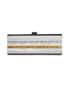Edie Parker | Flavia Striped Glitte Acrylic Box Clutch