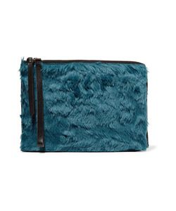 Mm6 Maison Margiela | Leather-Trimmed Faux Fur Clutch