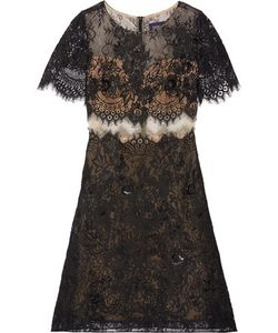 Marchesa Notte | Embellished Lace And Tulle Mini Dress