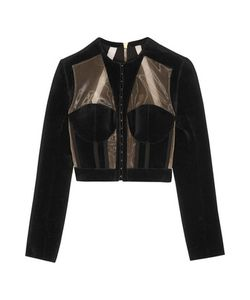 Balmain | Cropped Paneled Velvet And Mesh Jacket