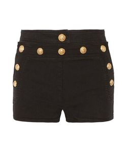 Balmain | Woman Button-Detailed Stretch-Denim Shorts Size