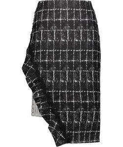 Jonathan Simkhai | Asymmetric Checked Woven Cady And Tweed Skirt