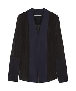Dion Lee | Tech Jersey-Paneled Silk-Chiffon Blouse