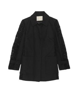 Maje | Paneled Guipure Lace And Cotton-Twill Coat
