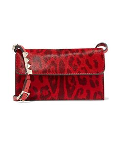 Valentino | Studded Leopard-Print Calf Hair-Effect Leather Shoulder Bag