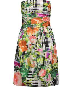Oscar de la Renta | Ruched Printed Cotton Mini Dress