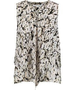 Derek Lam 10 Crosby   Lace-Up Draped Printed Silk Top