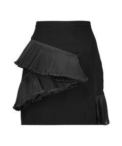 Opening Ceremony   Stone Plissé Organza-Trimmed Crepe Mini Skirt