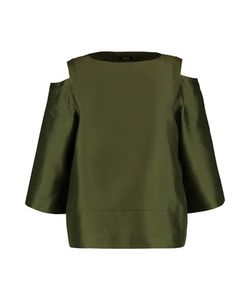 Raoul | Oriole Cold-Shoulder Silk And Wool-Blend Shantung Top Army