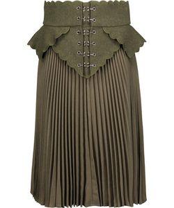 Antonio Berardi | Embroidered Wool Felt-Paneled Plissé Wool-Canvas Skirt Army