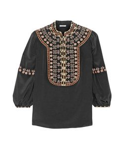 Vilshenko | Lucy Embroidered Washed-Silk Blouse