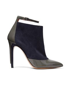 Maison Margiela | Two-Tone Patent Leather-Trimmed Suede Ankle Boots
