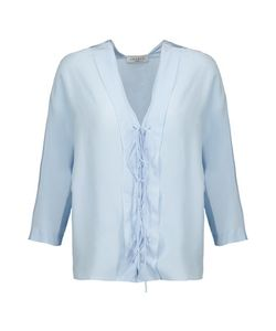 Sandro | Effy Lace-Up Silk-Crepe Top