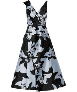 J. Mendel   J Mendel Printed Crepe And Satin Midi Dress Sky
