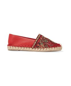 Valentino | Embroidered Tulle-Paneled Leather Espadrilles
