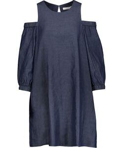 Tibi | Cutout Pleated Cotton-Chambray Mini Dress