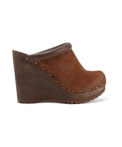 See by Chloé | Leather-Trimmed Calf Hair Wedge Clogs