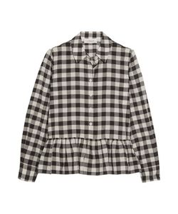 The Great | The Ruffle Oxford Plaid Cotton And Linen-Blend Shirt
