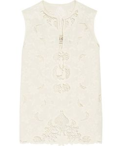 Sea | Open Knit-Trimmed Embroidered Cotton Top