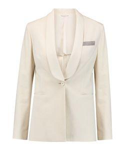 Brunello Cucinelli   Bead-Embellished Stretch-Cotton Jacket