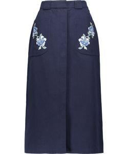 Vilshenko   Embroide Cotton-Twill Midi Skirt