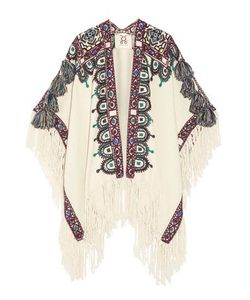 Figue | Woman Havelli Fringed Embroidered Alpaca Poncho Size
