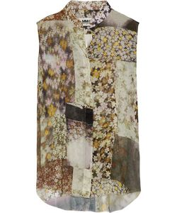 Mm6 Maison Margiela | Frayed Printed Chiffon Blouse