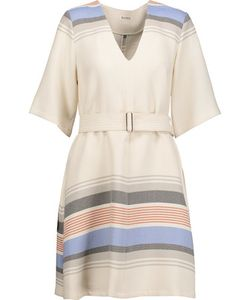 Suno | Belted Striped Voile Mini Dress