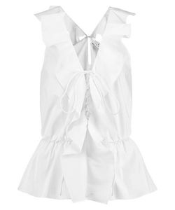 Tanya Taylor | Mikaela Ruffled Stretch Cotton-Blend Poplin Top