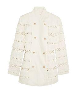 Zimmermann | Double-Breasted Crochet-Paneled Linen Jacket