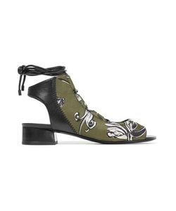 3.1 Phillip Lim | Drum Lace-Up Leather And Printed Neoprene Sandals