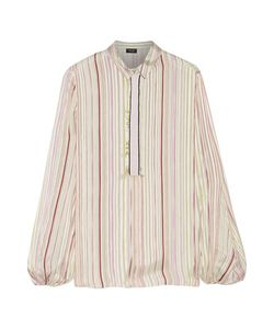 Giambattista Valli | Grosgrain-Trimmed Striped Silk-Satin Shirt