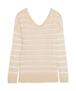 Brunello Cucinelli   Sequin-Embellished Striped Open-Knit Linen And Silk-Blend Sweater