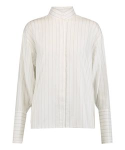 Dion Lee | Quarter Frayed Pinstriped Cotton-Chambray Blouse