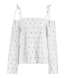 Tanya Taylor | Margo Cold-Shoulder Embroidered Cotton-Blend Poplin Top