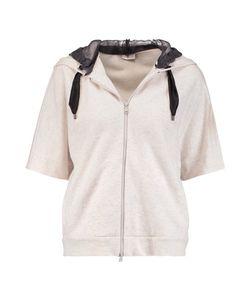 Brunello Cucinelli   Silk Organza-Paneled Cashmere And Cotton-Blend Hooded Sweatshirt