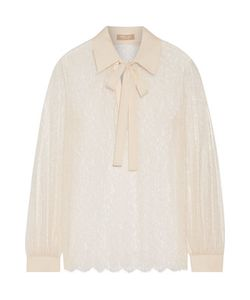 Michael Kors Collection | Crepe-Trimmed Chantilly Lace Blouse
