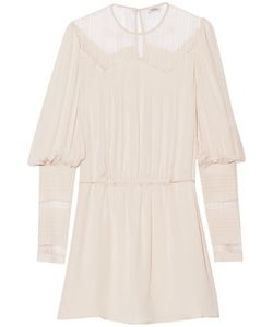 Talitha | Lace-Paneled Silk-Crepe Mini Dress