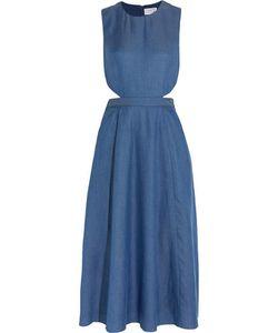 Tanya Taylor | Monica Cutout Chambray Midi Dress