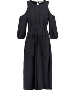 Tibi | Winston Cutout Cotton-Twill Midi Dress