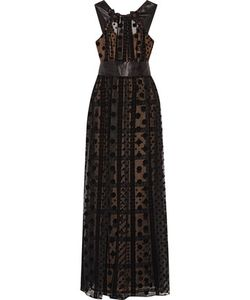Marchesa Notte | Bead-Embellished Velvet-Trimmed Tulle Gown